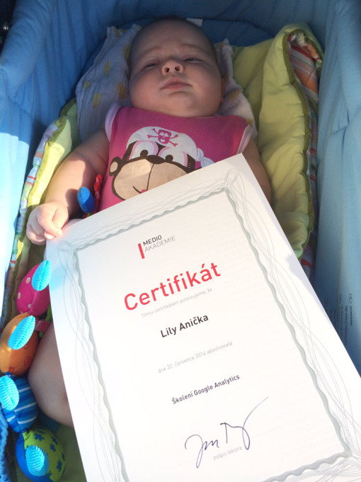 Lily Anička a její certifikát
