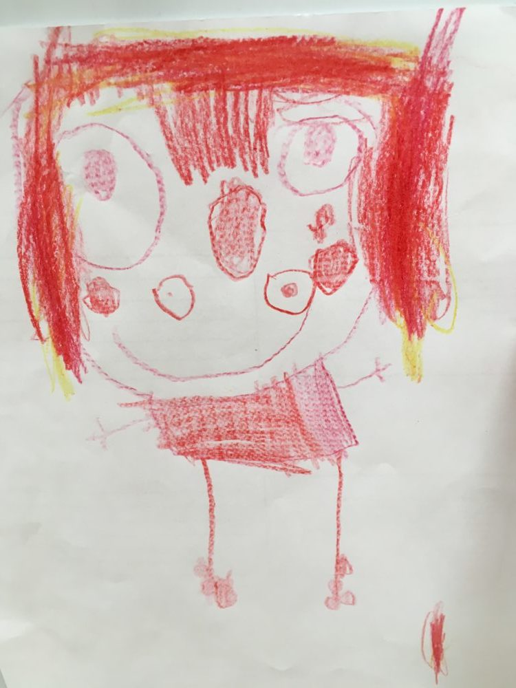 Vítězný obrázek, který jsem nakreslila dnes venku na lavičce. To jsem já a padá mi ofina do očí.